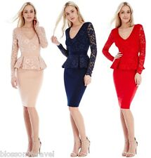 Goddess-Goddiva Long Sleeve Lace Peplum Bodycon Evening Dress Party Cocktail