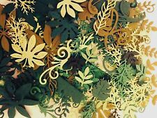 100 Assorted Green Foliage and Leaf Die Cut and Paper Punch Embellishments