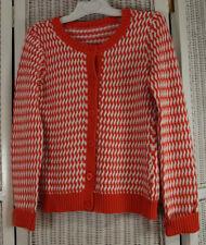 HEINRICH HEINE Basketweave Cardigan Orange White Jumper 36″ Bust Knitted Sweater