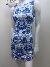 Forever New sz 6 Blue Floral Stretch Fitted Dress