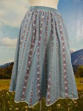 Trachtenrock blau Baumwolle mit Blumen Punkte und Streifen Trachten Rock Gr.44