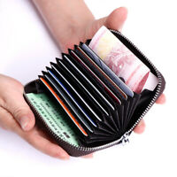 Mens Women Genuine Leather Wallet Card Holder RFID Blocking Zipper Thin Pocket