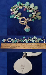 SAJEN 925 SILVER BRACELET Amethyst Turquoise Goddess Moon Face Gemstones br158