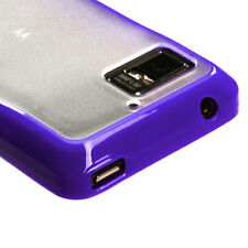 For Motorola Droid Bionic TPU Gel GUMMY Hard Skin Case Phone Cover Purple Clear