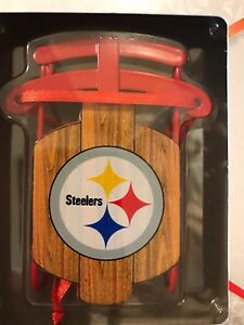 Pittsburgh Steelers NFL Metal Sled Christmas Ornament - New in Box