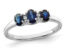 Laboratorio creado anillo azul zafiro de 0.60 quilates (quilates) en plata esterlina
