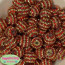 20mm Red and Gold Stripe Resin Rhinestone Chunky Bubblegum Beads 20 pc