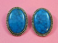 Vintage Signed ROMA Faux Turquoise Earrings Silver Tone
