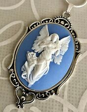 Guardian ANGEL Lrg Wings WEDGWOOD BLUE color CAMEO Necklace 925 SILVER PLT CHAIN
