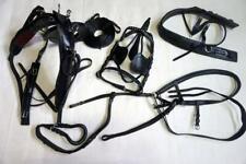"Leather Black-Complete Pkg Cart Driving Training Horse Harness +5"" 1/2 Cheek Bit"
