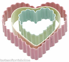 Set of 3 Fluted Heart Shape Biscuit Pastry & Cookie Cutters Large, Medium, Small