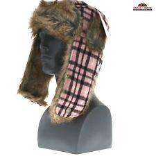 d24f026375488 Pink Plaid Aviator Bomber Hat Warm Faux Fur ~ New