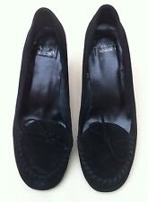 SHELLY'S LONDON 'HONTAS' Black Suede Heels Size 3 EU 36 Moccasin Style WORN ONCE