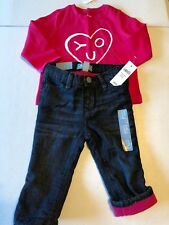 New Baby Gap Girl's 12-18 months Lined Denim Jeans red L/S Shirt