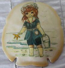 Girl Picture on Sand Dollar Redhead Child Beach Ocean Shoreline Starfish Ornamen