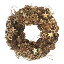 Grande Dorado Brillante Navidad Corona 34cm – Artificial Invierno Puerta