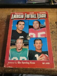 1968 AFL SPORTING NEWS FOOTBALL GUIDE - BRONCOS PATRIOTS JETS CHIEFS RAIDERS