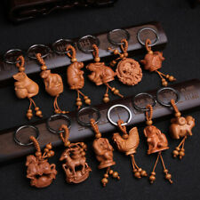 Chinese Zodiac Carving Wooden Pendant Keychain KeyRing Bag Hanging Decor Classic