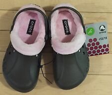 CROCS BLITZEN POLAR KIDS MAMMOTH FLEECE CLOG SHOES~Brown Pink~Kids C 12/13~NWT
