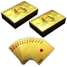 2x 54 Spielkarten 100$ Gold Design | Pokerkarten Skatkarten | Kartendeck