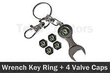 Key Ring Keyring + 4 Tyre Valve Caps for SKODA Octavia Fabia Citigo Yeti  /1109