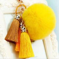 Fashion Rabit Fur Pompom Ball Silk Tassel Drop Pendant Keyrings Keychain Acc