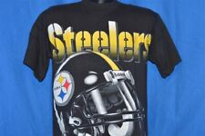 vintage 90s PITTSBURGH STEELERS HELMET BLACK RIDDELL COTTON t-shirt FOOTBALL M