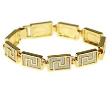 Sand Blast Hip Hop Bracelet Square Aztec Chain Sandblast Bling Gold Tone 9 inch
