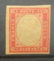 ITALIA ANTICHI STATI A.S.I. SARDEGNA 1855 LINGUELLATO 40 C. MH* (C.X)