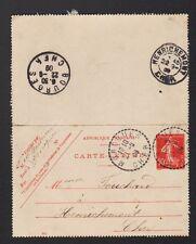 MOROGUES (18) CARTE-LETTRE Entier Postal / Oblitération perlée en1909