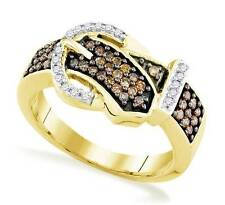 Chocolate Brown & White Diamond Belt Buckle Ring 10K Yellow Gold Band .50ct