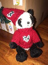 """8"""" Hugfun Costco Collectible Stuffed Panda Bear Red Sweater & Hat 1998 (CT)"""
