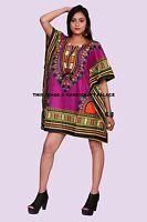 Africain Dashiki Caftan Boho Hippe Robe Court Longueur Maxi Haut Indien