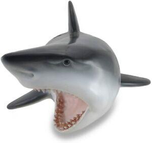 Wall Mounted 16 Inch Shark Head Art Sculpture - Jaws Shark Head Trophy Mount NEW