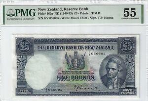 P-160a 1940-55 5 Pounds, New Zealand Reserve Bank, PMG AU55 Nice!