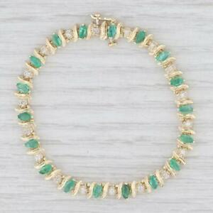 20.02 Ct Marquise Cut Emerald & Diamond Tennis Bracelet In 14K Yellow Gold Over