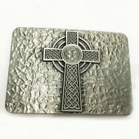 Celtic Cross Silver Plated Black No Leather Belt Buckle Men's Accessories Gift