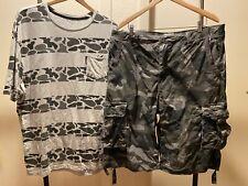 ECKO UNLTD Lot Gray CAMO Shorts 36 + Shirt 2XL
