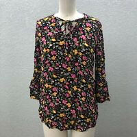 Old Navy Tunic Top Blouse Women's M Black Floral 3/4 Bell Sleeve Tie Front