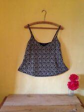 Miss Selfridge size 14 boho vintage deco look floral black gold glitter vest top