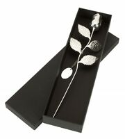 PERSONALISED ENGRAVED SILVER PLATED SILVER ROSE, TAG & GIFT BOX FREE ENGRAVING