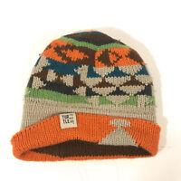 TURTLE FUR knit beanie winter hat geometric orange browns FREE SHIPPING - hbx10