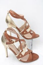 "Guess Womens Sz 7.5 M Tan and Gold Strappy 4"" Heels Pumps Sandals Ankle Collar"