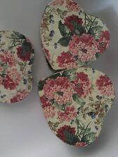 Set of 3 Nesting Heart Shaped Storage Boxes, rose pattern