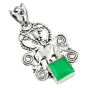 Natural Green Chalcedony 925 Sterling Silver Elephant Pendant D8176