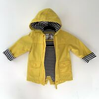 Mothercare Kids Baby Yellow Rain Coat 6-9 Months Soft Stripy Linning Hood Free P