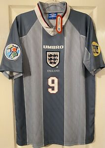 ENGLAND EURO '96 - UMBRO AWAY SHIRT - SHEARER 9 - BNWT - SIZE XL 🦁🦁🦁