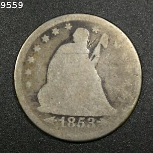 """1853-O """"Arrows+Rays"""" Liberty Seated Quarter *Free S/H After 1st Item*"""