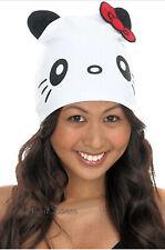 Hello Kitty Panda Bear with ears Red Bow Beanie Hat Cap for Christmas San Rio