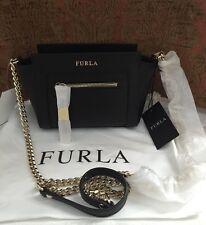 NWT FURLA Ginevra Mini Leather Black/Gold Crossbody Bag $318